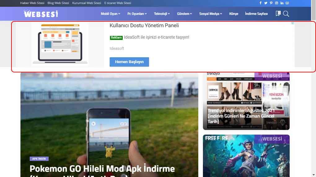 Haber Sitesine Reklam Ver